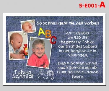 Karten Zur Einschulung 1 Schultag Einladung Danksagung